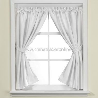 Weston White Bathroom Window Curtain Pair