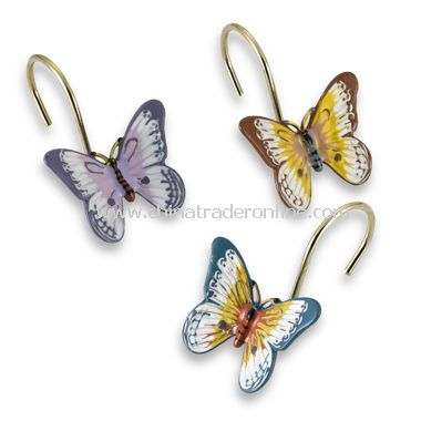 Butterfly Meadow Shower Curtain Hooks (Set of 12)
