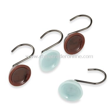 wholesale Croscill Oasis Brown and Aqua Shower Curtain Rings (Set ...