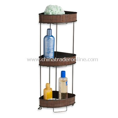 Formbu Espresso Bamboo 3-Shelf Corner Bath Tower