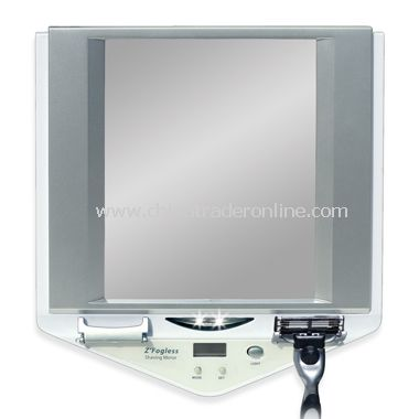 LED Lighted Fog-Free Shower Mirror with LCD Clock