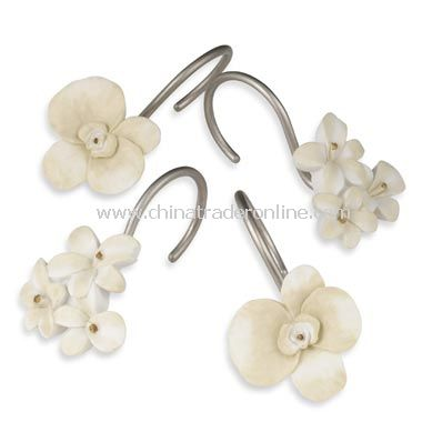 Orchids and Narcissus Shower Curtain Hooks (Set of 12)