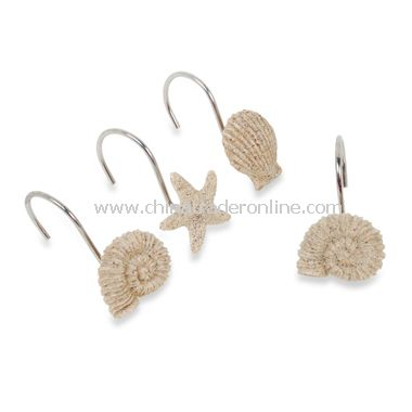 Sandy Shell Shower Curtain Hooks (Set of 12)