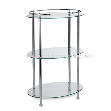 3-Shelf Oval Taboret - Chrome
