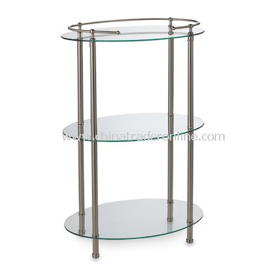 3-Shelf Oval Taboret - Satin Nickel
