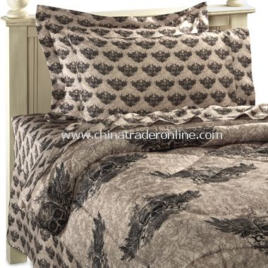 Winged Skull Comforter and Sheet Sets,Satin Charmeuse Waterbed ...