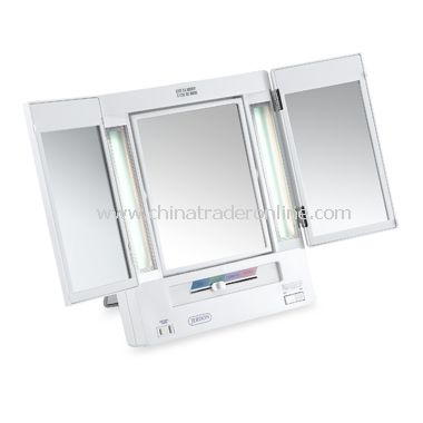 5X Lighted Tri-Fold Makeup Vanity Mirror