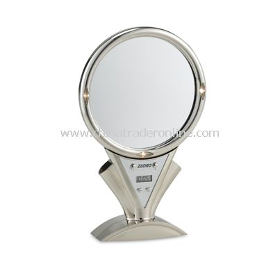 Fog-Free Lighted 5X/1X Stainless Steel Shower Mirror