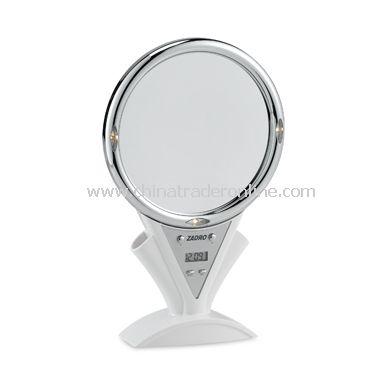 Fog-Free Lighted 5X/1X White Shower Mirror