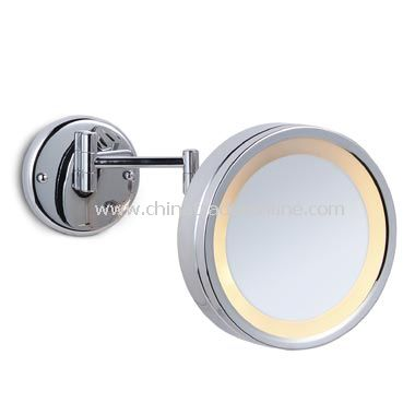 Halo-Lighted, 5X Magnification Chrome Wall Mirror