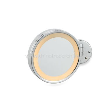 Jerdon 3X Chrome Wall Mount Halo Lighted Mirror