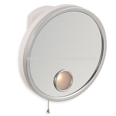 Jerdon 5X Chrome and White Wall Mount Lighted Mirror