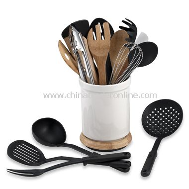 Rotating 17-Piece Utensil Crock Set