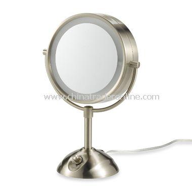 Satin Nickel Illuminated Double-Sided 1X/10X Magnification Mirror