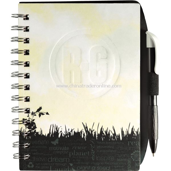 Green grass journal book with 100 sheets of spiral bound lined paper