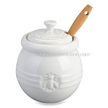Honey Pot with Silicone Dipper - White