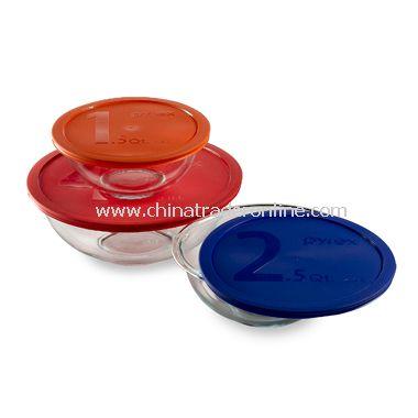 Pyrex Glass Bowls with Lids (Set of 3 Bowls)
