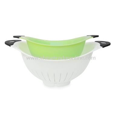 White and Green Colanders (Set of 2)