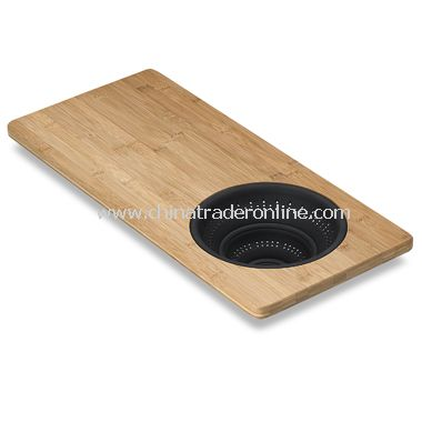 Over-the-Sink Bamboo Strainer Board