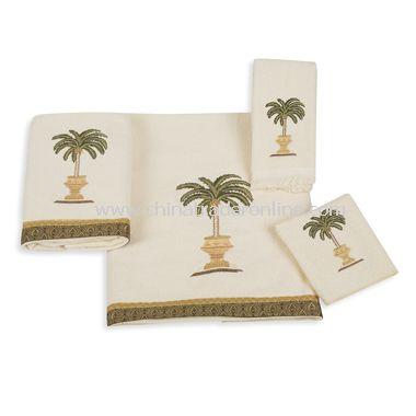 Avanti Date Palm Ivory Bath Towels, 100% Cotton