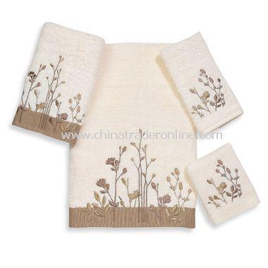 Avanti Premier Floral Fields Ivory Bath Towels, 100% Cotton
