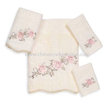 Avanti Premier Rose Garden Ivory Bath Towels, 100% Cotton