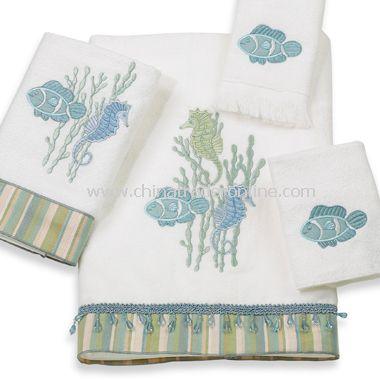 Avanti Reef Life White Bath Towels, 100% Cotton