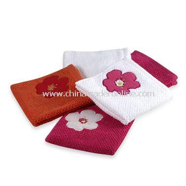 Ella Floral Washcloths (Set of 5), 100% Cotton