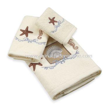 Ocean Shell Bath Towels, 100% Cotton