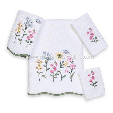 Premier Country Floral White Bath Towels by Avanti, 100% Egyptian Cotton
