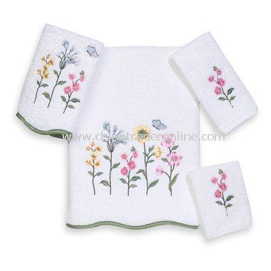 Premier Country Floral White Bath Towels by Avanti, 100% Egyptian Cotton