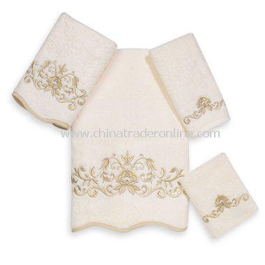 Premier Venetian Scroll Ivory Towels by Avanti, 100% Egyptian Cotton