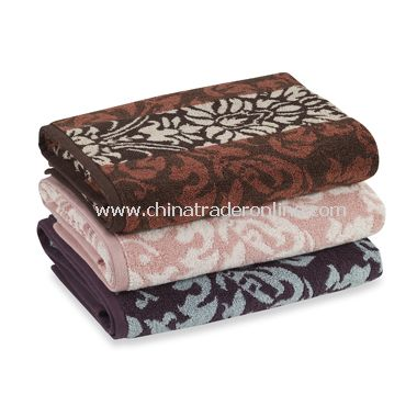 Royal Velvet Duet Damask Bath Towel Collection, 100% Cotton