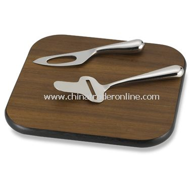 3-Piece Mingle Cheese Knife and Wooden Board Set