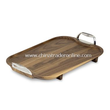 J.K. Adams Stainless and Walnut Wood Serving Tray