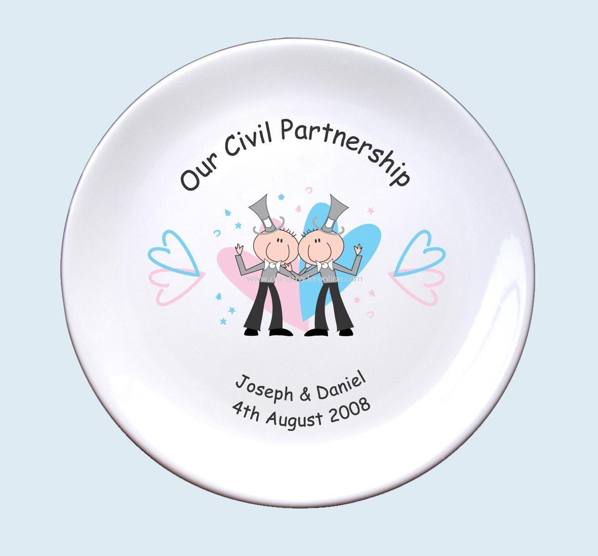Civil Partnership Plate Mr & Mr