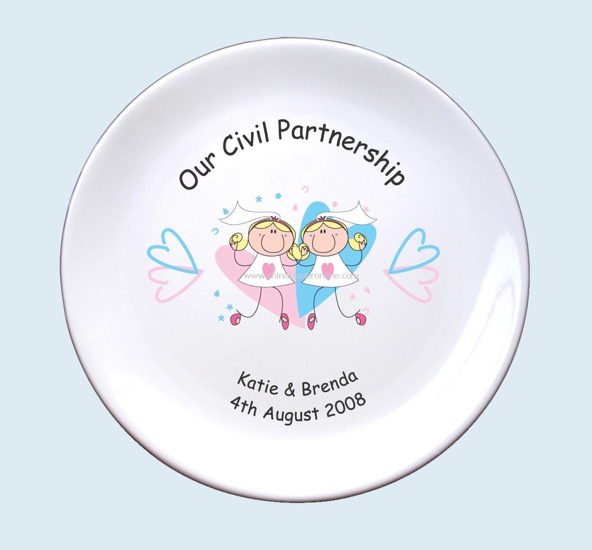 Civil Partnership Plate Mrs & Mrs