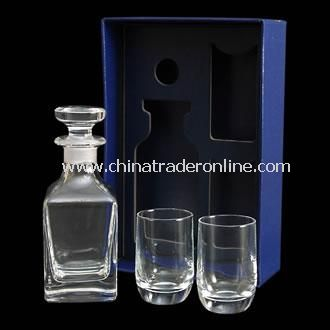 Crystal Mini Decanter and 2 Tot Glasses