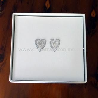 Medium Wedding Photo Album Silver Beaded Hearts