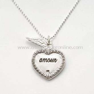 Silver Amour Cupids Wing Necklace