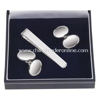 Sterling Silver Cufflink & Tie Pin Set