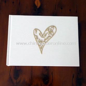 Wedding Guest Book Gold Filigree Heart