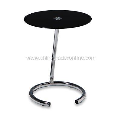 Yield Circular Black Glass and Chrome Telephone Table