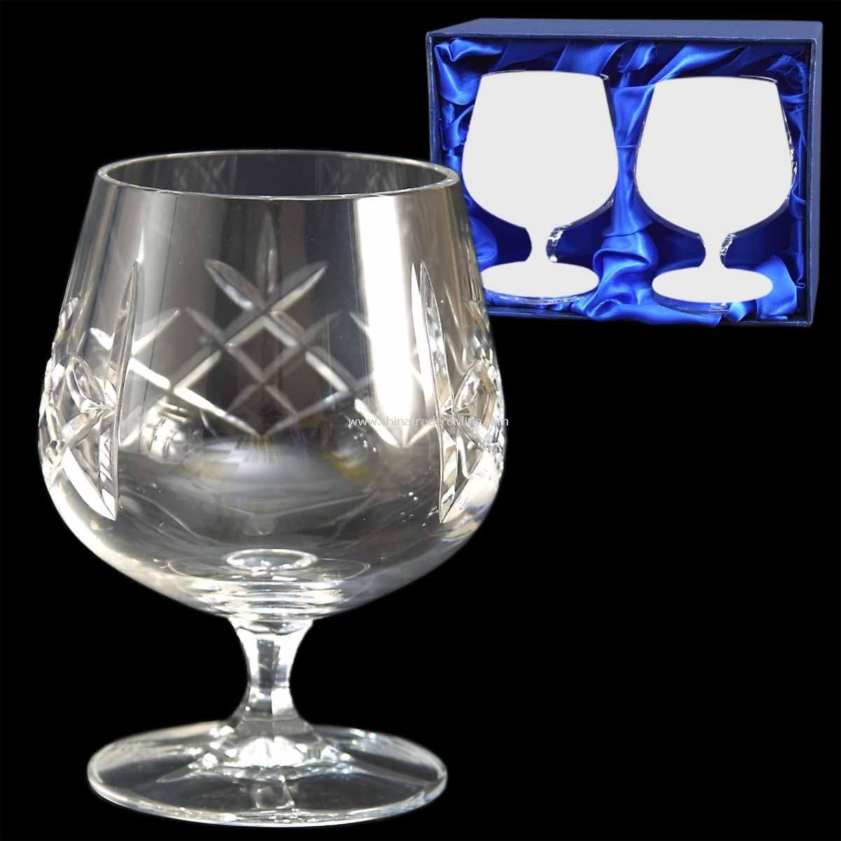 Cut Crystal Brandy Glass Pair