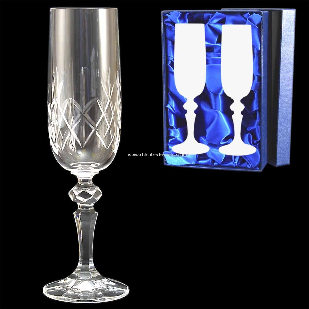Cut Crystal Champagne Flute pair
