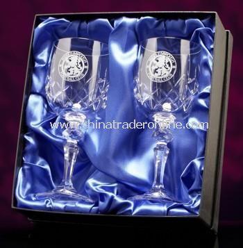 Cut Crystal Wine Glass Pair