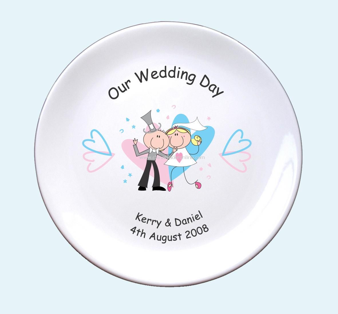 Pink & Blue Hearts Wedding Plate