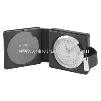 Leather and Silver Plated Photo Travel Clock