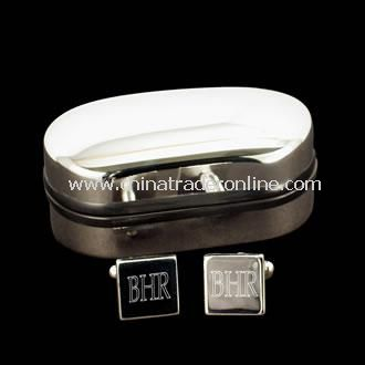 Monogrammed Silver Plated Square Cufflinks