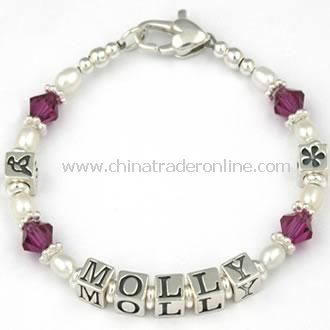 Personalised Silver, Pearl and Crystal Bracelet